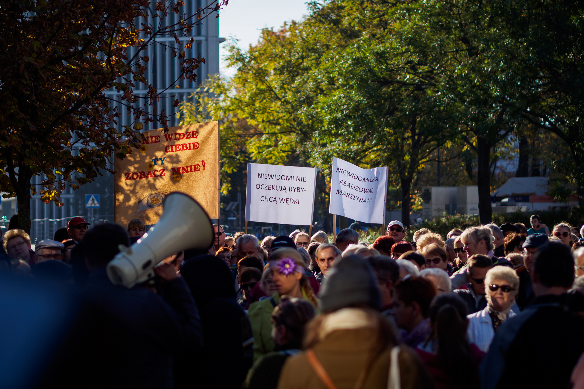 3 transparenty i megafon w tle, protestujący zebrani pod Sejmem RP