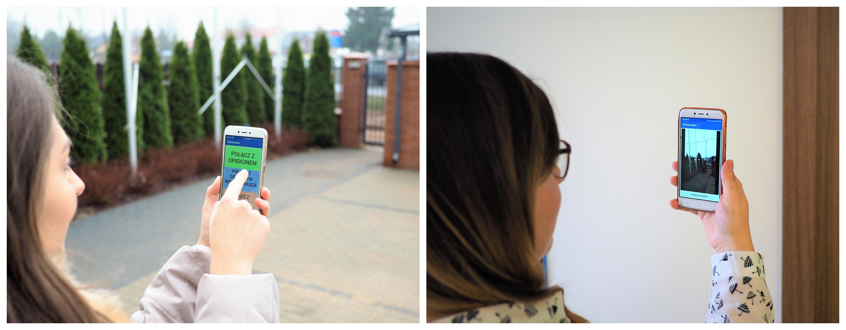 dwa zdjęcia obok siebie: na jednym dziewczyna na zewnątrz trzyma telefon i dotyka placem aplikację, na drugim zdj. inna dziewczyna robi to samo w pomieszczeniu