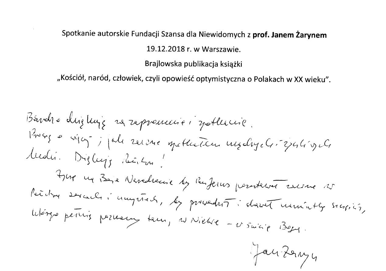 podziękowanie napisane przez prof Żaryna, tekst poniżej